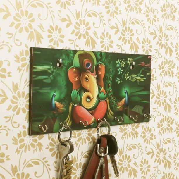 PAEDICON Lord Ganesha Wood Key Holder