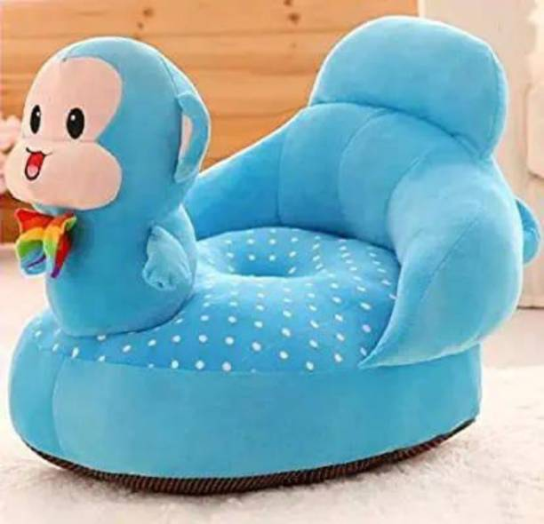 Moonflare Soft and Funky Monkey Look Baby Sofa Seat in Attractive Sky Blue Colour With Wide Space for Sitting Suitable for Boys and Girls Fabric Sofa
