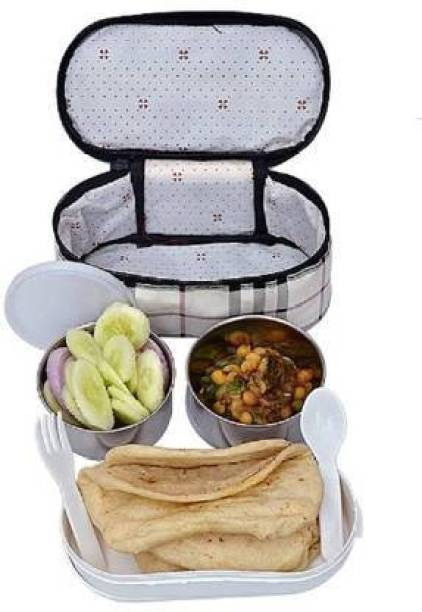 beautyfly Warm Fresh Food Steel Double Decker 3 Container Premium Lunchbox with Zipped Thermal Pouch Bag (2x300ml, 1x420ml, Multicolour) 3 Containers Lunch Box 3 Containers Lunch Box
