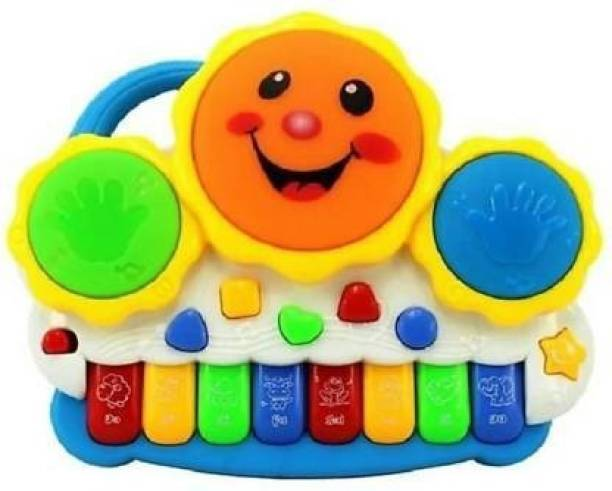Miss & Chief Electronic Drum Plus Organ Piano With Flashing Lights and Melodious Music (Multicolor)