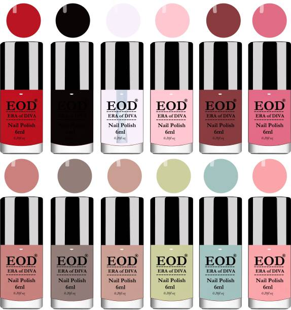 EOD 6ml each Glossy High Shine Premium Quality Long Lasting Nail Polish Paint Set of 12 Bottles Tomato Red::Black::Extra Shine Top Coat::Baby Pink::Old Brick::Pink Peach::Nude::Dark Nude::Nude::Olive Green::Light Sky Blue::Peach