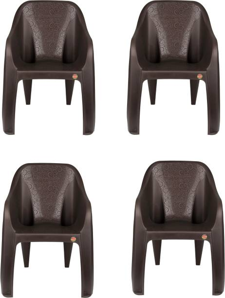 cello Dynamo Set Of 4 Chair,Brown Plastic Cafeteria Chair