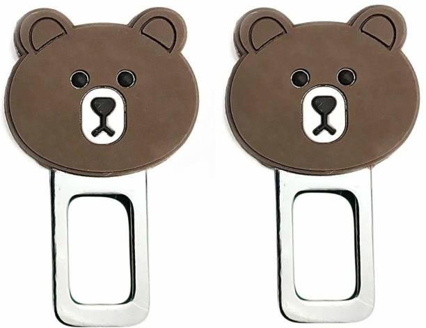 carfrill Set of 2 Car Safety Alarm Stopper Null Insert Seat Belt Buckle Clip for All Cars (Bear Design) Seat Belt Extender Clip
