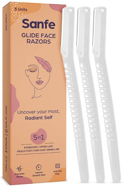 Sanfe Glide Face Razor for painfree facial hair removal (3 units) - upper lips, chin, peach fuzz - Stainless steel blade, comfortable, firm grip