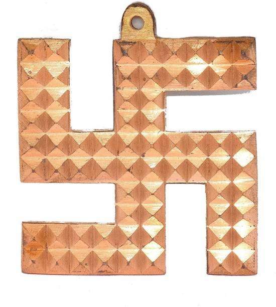 RUDRA DIVINE RUDRADIVINE Copper Swastik (3.5 inch, Copper) Decorative Showpiece  -  8.89 cm