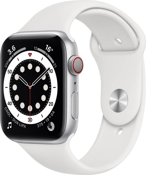 APPLE Watch Series 6 GPS + Cellular 44 mm Silver Aluminium Case with White Sport Band