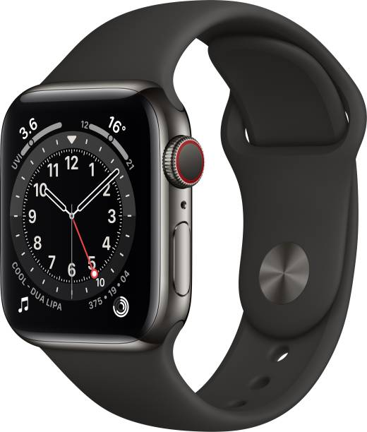 APPLE Watch Series 6 GPS + Cellular 40 mm Graphite Stainless Steel Case with Black Sport Band