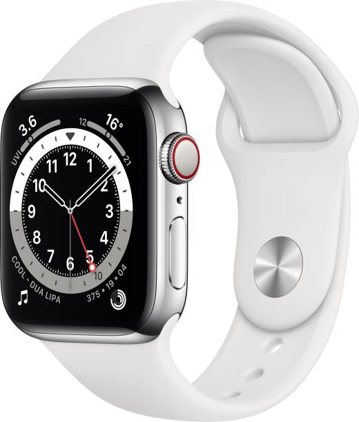 APPLE Watch Series 6 GPS + Cellular 40 mm Silver Stainless Steel Case with White Sport Band