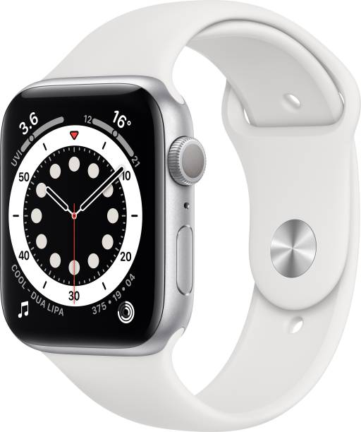 APPLE Watch Series 6 GPS 44 mm Silver Aluminium Case with White Sport Band