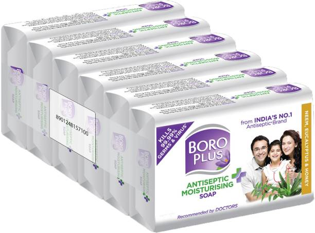 BOROPLUS Antiseptic + Moisturising Soap - Neem, Eucalyptus & Honey (Pack of 6)