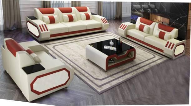 alishaank sofaro12 Leatherette 3 + 2 + 1 brown Sofa Set