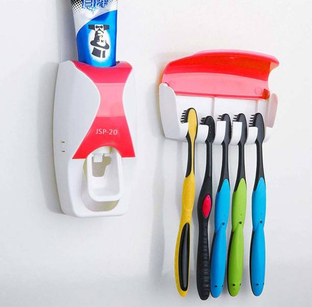 Misaki 5 Compartment Toothbrush Holder with Automatic Toothpaste Dispenser Wall Mounted Plastic Toothbrush Holder