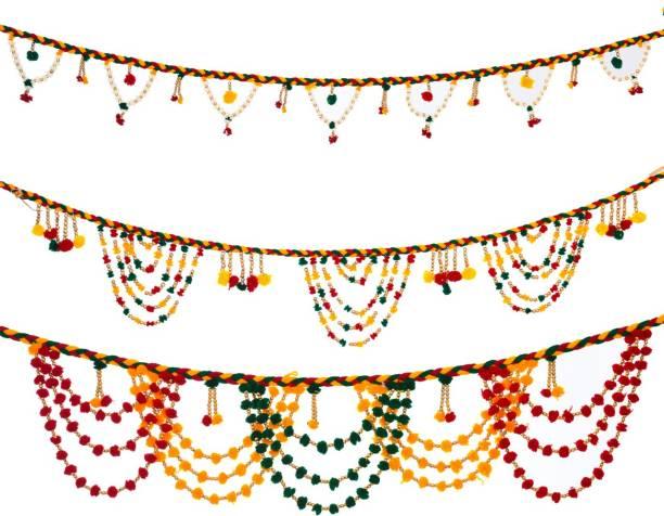 Marwari Arts Set of 3 Toran Bandarwal Shubh Labh Hanging Door Wall Window Sider Hangings for Home Diwali Decoration Toran