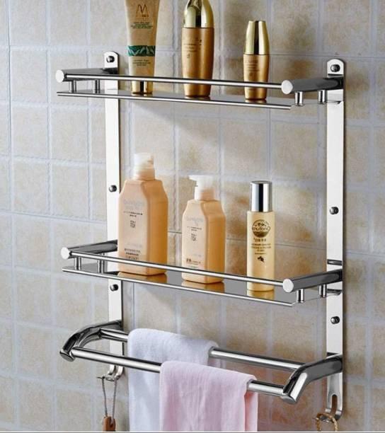 GOLDEN LIKE by GOLDENLIKE SS-304,Multi use Rack Stainless Steel Bathroom Shelf/Kitchen Shelf/Bathroom Shelf and Rack/Bathroom Accessories Stainless Steel Wall Shelf (Number of Shelves - 2, Steel), SS-304, Pack Of 1 Pcs Steel Towel Holder