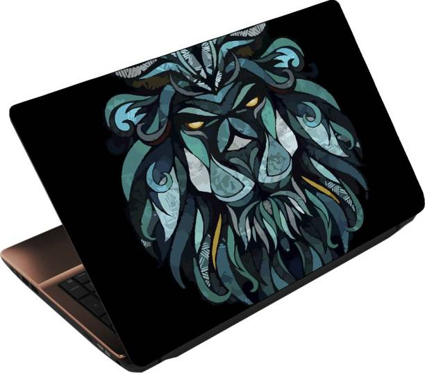 Anweshas 3 in 1 Pack of 15.6 inch Laptop Skin Decal Vinyl, Screen Guard and Silicone Keyboard Protector - Printed Lion Blue Art Combo Set
