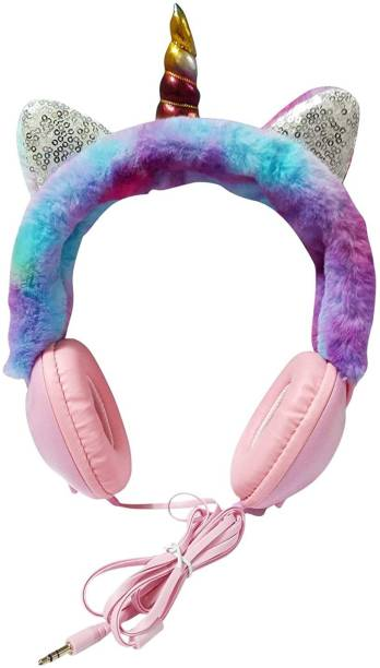 ONOTIC Unicorn Horn and Sequence Ear Shape Over The Ear 3.5mm for Girls Wired without Mic Headset