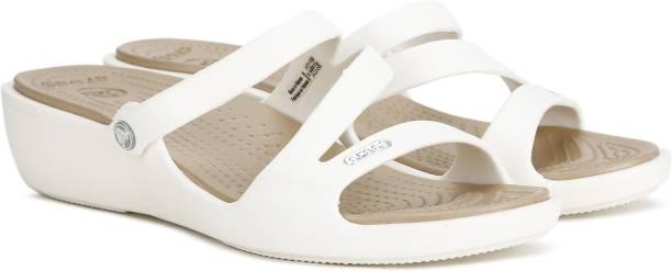 CROCS Women White Wedges