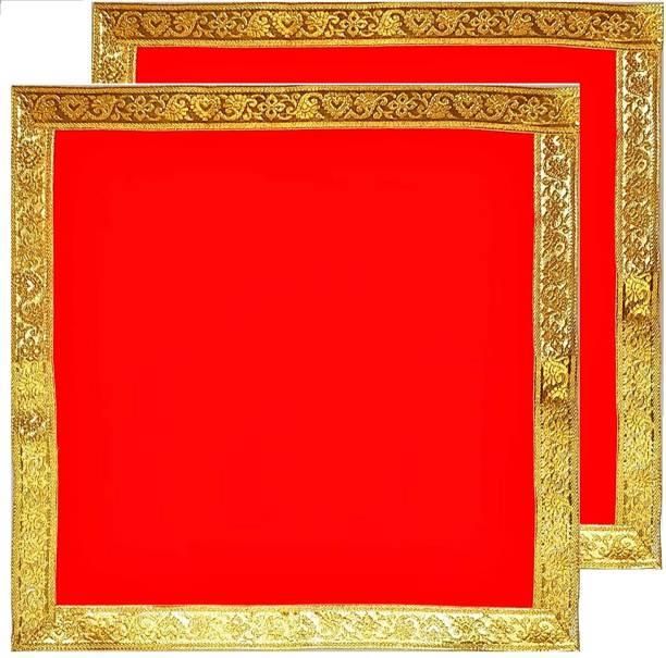 b r collection Pooja Chowki Aasan/ 18 Inch X18 Inch Chowki Kapda For Pooja velvet Cloth Altar Cloth
