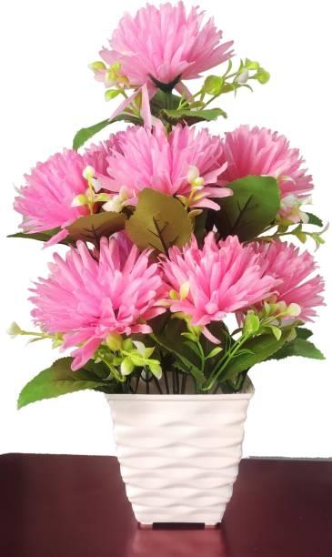 BK Mart Beautiful Pink Dahlia Flower Basket For home Shop Office Decor - 12 Flower Sticks Pink Dahalia Artificial Flower  with Pot