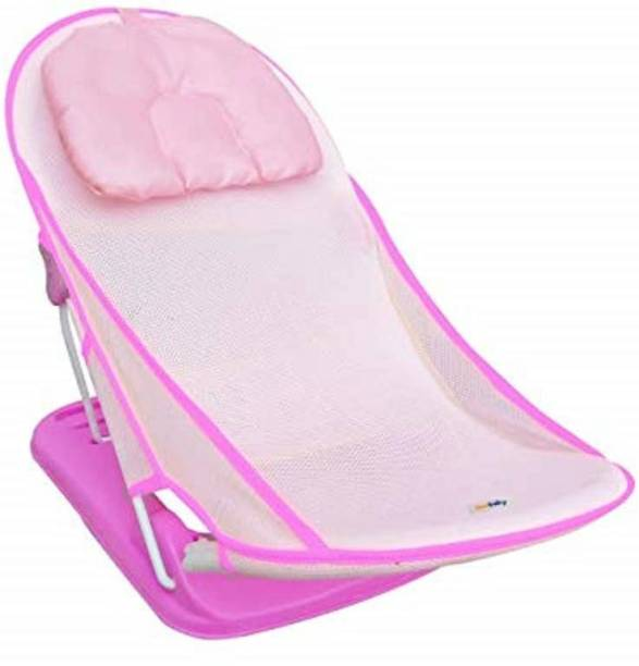 "sunbaby Net""First Bath"" Deluxe Bather with Padded Cushion for Baby, Safety Anti Slip for Newborn/Infants, Hygenic Portable Compact Foldable Bathing Training Seat for Baby boy/Girl 0-9 Months-Pink Baby Bath Seat"