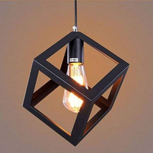 LazyHomez Single Head Vintage Metal Square Cube Shape Hanging Pendant Ceiling Lights (Black, No Bulbs provided) Pendants Ceiling Lamp
