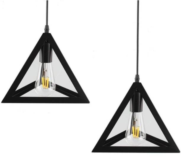LazyHomez Triangle Shape Single Head Hanging Pendant Ceiling Lights Pack of 2 (Black, Bulb Not Included) Pendants Ceiling Lamp