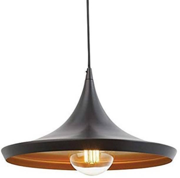 LazyHomez Single Head Vintage Metal Tawa Hanging Pendant Ceiling Light (Black & Gold, Bulb Not Included) Pendants Ceiling Lamp