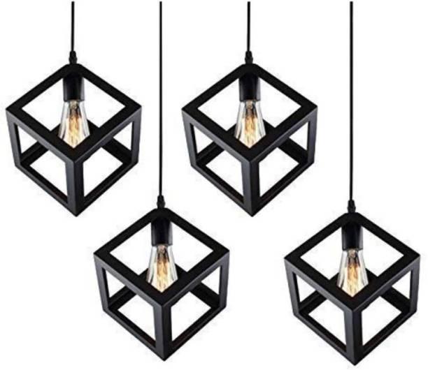 LazyHomez Vintage Metal Cube Shaped Hanging Pendant Ceiling Light Pack of 4 (Black) Pendants Ceiling Lamp