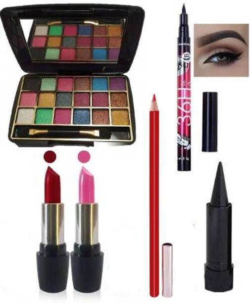 villosa Pink Red Lipstick+18 Colour Mini Eye shadow +Eyeliner+Kajal+lipliner (Pack of 6)