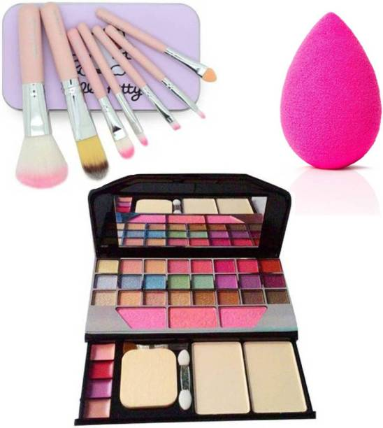 lazygirl 24 Eye-shadow , 7 Makeup Brush, 1 Sponge puff (combo kit) (3 Items in the set)