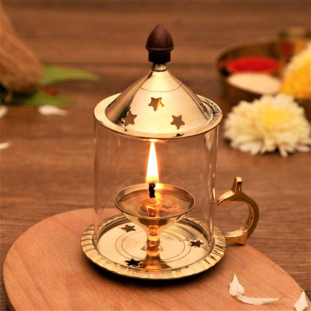 Flipkart SmartBuy Brass, Glass Table Diya