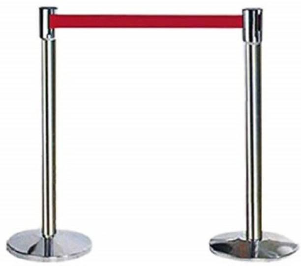 Ladwa Set of 2 Q Manager, 202 Grade Extendable 2.25 mtr Hook Type Stanchions Barrier Accessories Steel Barricade, Que Manager - Red Emergency Sign