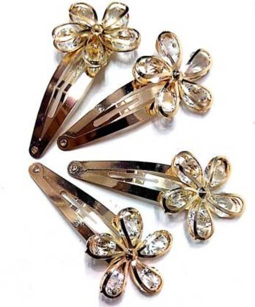 Gogi Enterprises Partywear (4 pieces set) Stylish Golden Rhinestone Metal Tic Tac Clips for Girls & Women|Wedding Hair Accessories|Designer Hair Pin