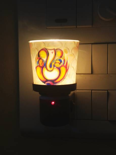 Maverick Niche Lord Ganesh Glass Aroma Diffuser/Kapoor Dani Cum Night Lamp; Premium Essential Oil Burner with Switch On/Off Button for Heating; Made in India (Orange) Glass Incense Holder