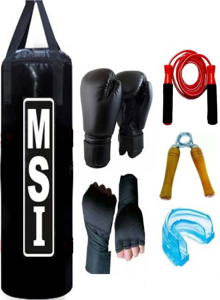Monika Sports Senior Boxing Pack 3 feet unfilled Punching Bag With Hanging Strap + Pair of Boxing handwrap + Pair of Boxing Gloves + 1 Bearing Skipping Rope + 1 Wooden Handgrip + 1 Mouth Guard Boxing Kit