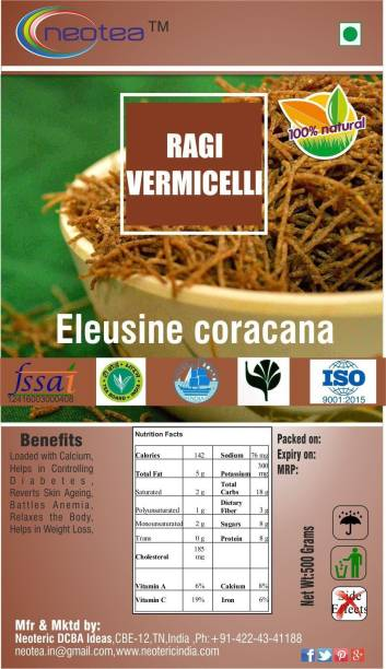 Neotea Ragi Vermicelli Noodles - 500 g Each Pack of 2 ( Total 1000 g ) Instant Noodles Vegetarian