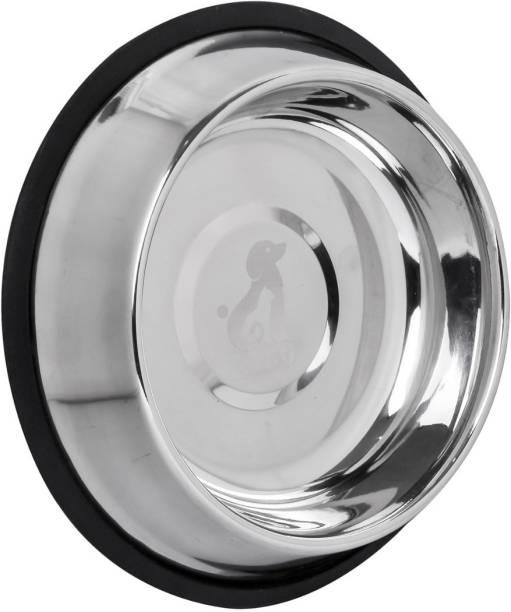 CIBO X-Large 1650 ML Super Premium Quality Anti Skid Scratch Proof Dog Bowl Round Steel Pet Bowl