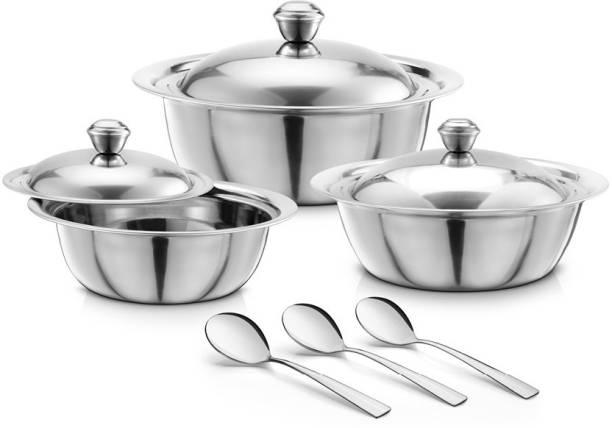 Jensons Stainless Steel BASICS 3Pcs Handi Set with 3Pcs Service Spoon Bowl Serving Set