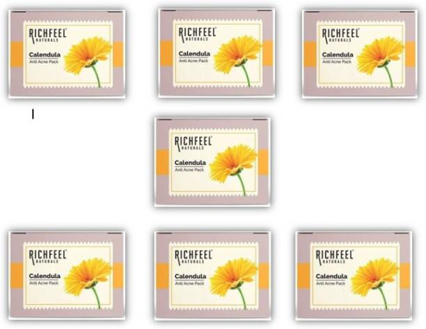 RICHFEEL Anti Acne Soap with Calendula Extracts_(Pack of 7) (7 x 10.71 g)
