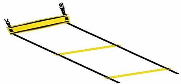 DE JURE FITNESS Adjustable Grey Yellow Agility Ladder 2M Strap 4 Rungs Set Speed Ladder