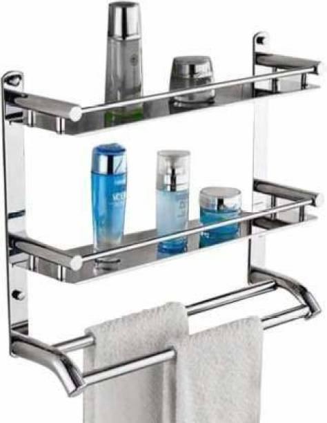 Filox Stainless Steel Multi-use Rack / Bathroom Shelf / Kitchen Shelf / Bathroom Stand / Bathroom Rod / Bathroom Accessories Stainless Steel Wall Shelf 14 inch 3 Bar Towel Rod