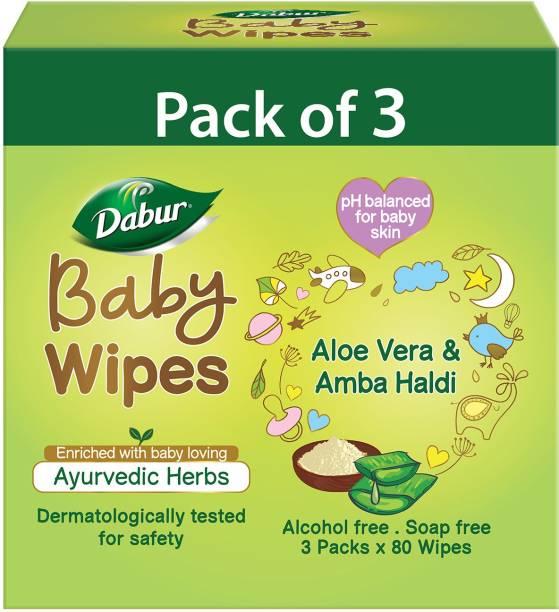 Dabur Baby Wipes with Moisture Lock Cap |Contains Aloevera| No Parabens & Phthalates