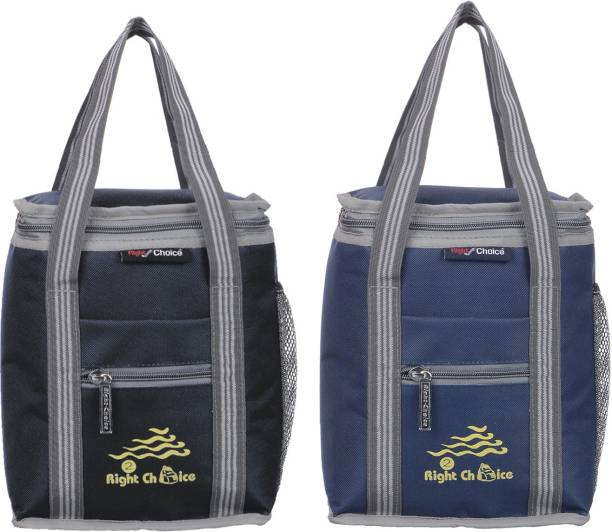 RIGHT CHOICE All Age Combo Lunch Bags Branded Trendy Premium Quality Carry on School Office & Picnic (Black+Navy Blue 3006+3007) Lunch Bag