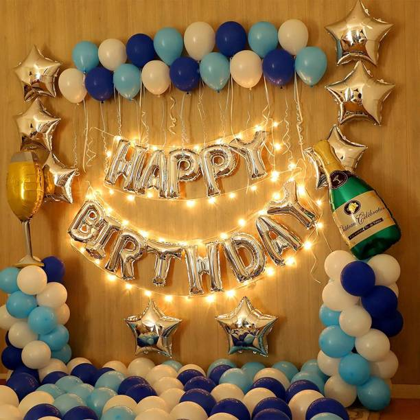 CherishX.com Printed Premium 127pc Blue Birthday Balloon Decoration Items with 1pc Silver Happy Birthday foil letters, 1pc Champagne Bottle, 1pc Glass, 8pc Silver Star, 100pc metallic Balloons, 1pc led & 1pc pump Letter Balloon