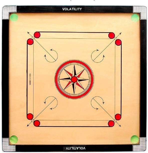 VOLATILITY 32 Inch Carrom Board with Coins Striker and Boric Powder Combo Number Two Carrom Board Board Game