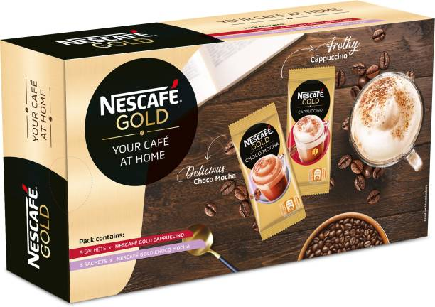 Nescafe Gold Cafe at home Pack, 10 Sachets Instant Coffee