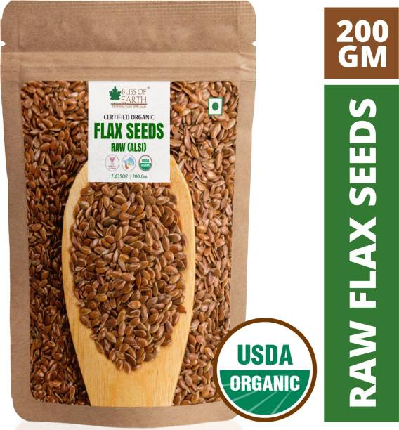 Bliss of Earth USDA Organic Flax Seeds 200GM Raw Super food for Weight Loss