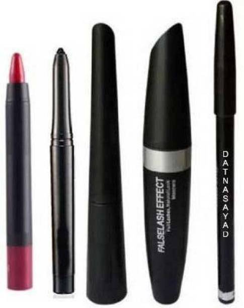 DATNASAYAD EYEBROW PENCIL BLACK, EYELINER, MASCARA, KAJAL, (4IN1)+LIPSTICK (SET OF 5) 300 g