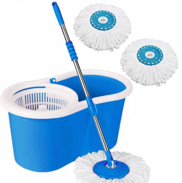 V-MOP Blue Classic Slandered Magic Spin Cleaning Bucket Mop with 2 Refills Mop Set, Duster, Bucket, Mop, Cleaning Wipe