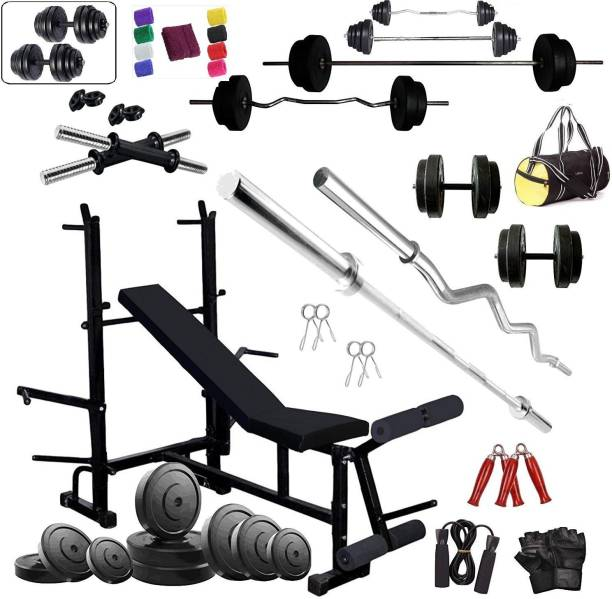 RIO PORT 40 kg 50Kg PVC Combo 111 Home Gym with 8 in 1 Multipurpose Bench Home Gym Combo
